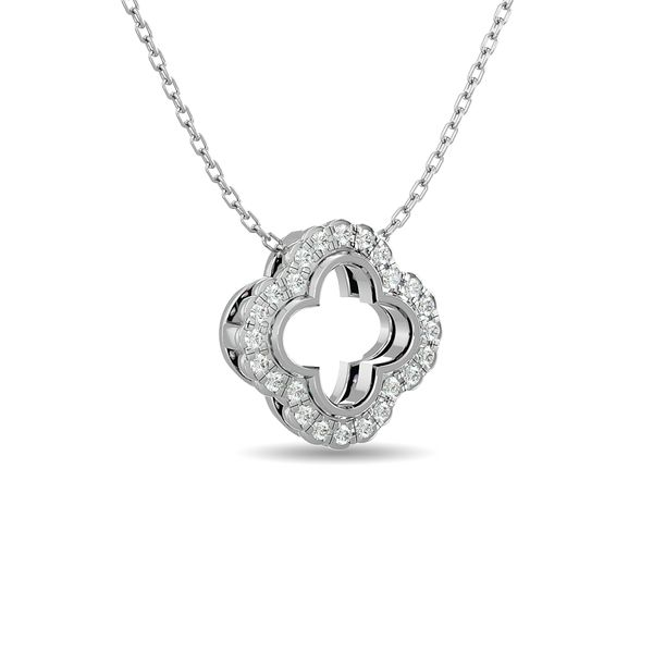 Diamond 1/10 ct tw Clover Pendant in 10K White Gold Image 2 Robert Irwin Jewelers Memphis, TN