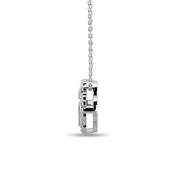 Diamond 1/10 ct tw Clover Pendant in 10K White Gold Image 3 Robert Irwin Jewelers Memphis, TN