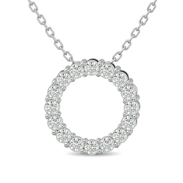 Diamond Open Circle Pendant 1/4 ct tw Round Cut in 10K White Gold Robert Irwin Jewelers Memphis, TN