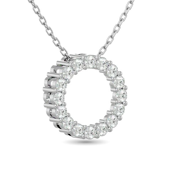 Diamond Open Circle Pendant 1/4 ct tw Round Cut in 10K White Gold Image 2 Robert Irwin Jewelers Memphis, TN