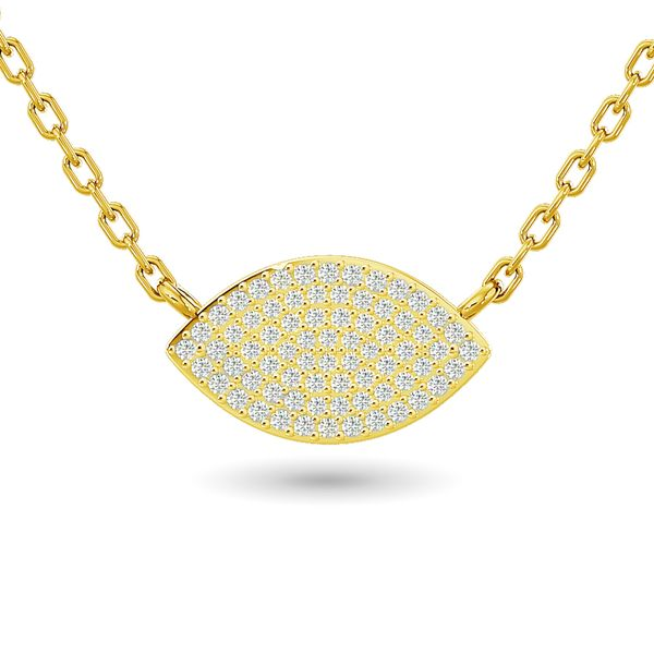 Diamond Eye Shape Necklace 1/5 ct tw in 10K Yellow Gold Robert Irwin Jewelers Memphis, TN