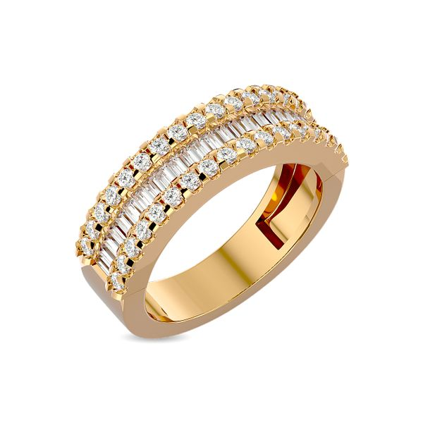Diamond 1 ct tw Round and Tapper Fashion Ring in 10K Yellow Gold Image 2 Robert Irwin Jewelers Memphis, TN