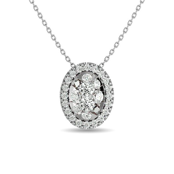 Diamond 1/2 ct tw Oval Shape Cluster Pendant in 14K White Gold Robert Irwin Jewelers Memphis, TN