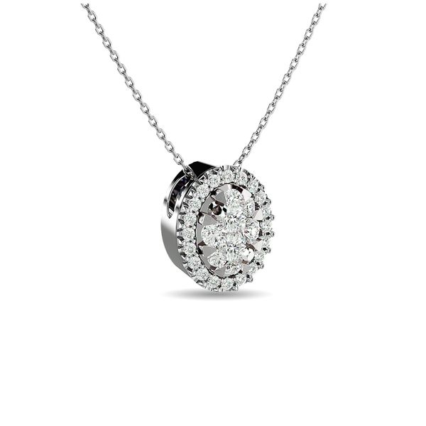Diamond 1/2 ct tw Oval Shape Cluster Pendant in 14K White Gold Image 2 Robert Irwin Jewelers Memphis, TN