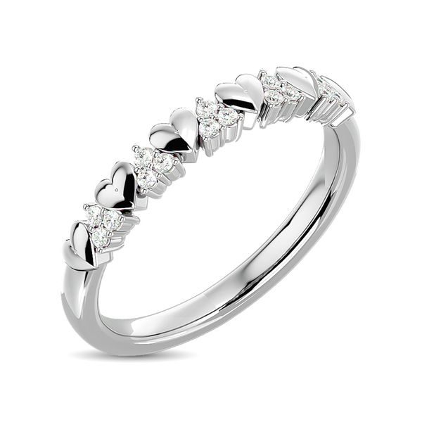 Diamond 1/10 ct tw Heart Stackable Ring in 10K White Gold Image 2 Robert Irwin Jewelers Memphis, TN