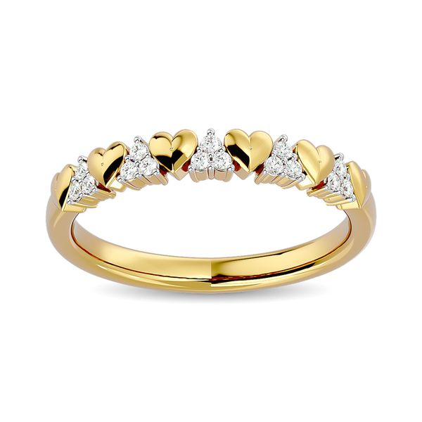Diamond 1/10 ct tw Heart Stackable Ring in 10K Yellow Gold Robert Irwin Jewelers Memphis, TN