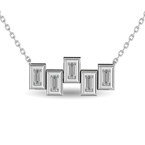 Diamond 1/6 ct tw Straight Baguette Fashion Necklaces in 14K White Gold Robert Irwin Jewelers Memphis, TN