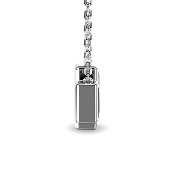 Diamond 1/6 ct tw Straight Baguette Fashion Necklaces in 14K White Gold Image 3 Robert Irwin Jewelers Memphis, TN