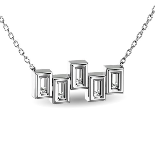 Diamond 1/6 ct tw Straight Baguette Fashion Necklaces in 14K White Gold Image 4 Robert Irwin Jewelers Memphis, TN