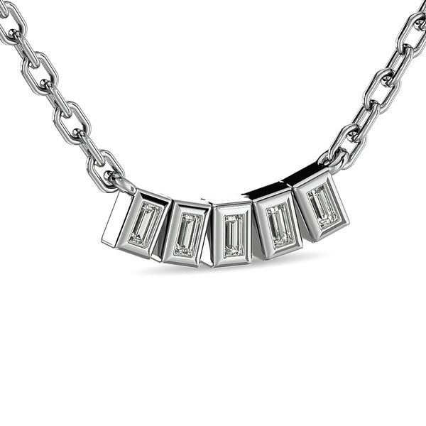 Diamond 1/6 ct tw Straight Baguette Fashion Necklaces in 14K White Gold Image 2 Robert Irwin Jewelers Memphis, TN