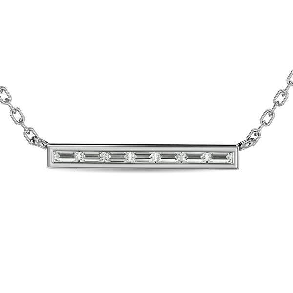 Diamond 1/6 ct tw Straight Baguette Bar Necklaces in 14K White Gold Robert Irwin Jewelers Memphis, TN