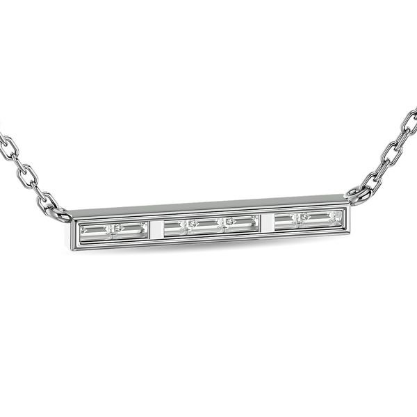 Diamond 1/6 ct tw Straight Baguette Bar Necklaces in 14K White Gold Image 4 Robert Irwin Jewelers Memphis, TN