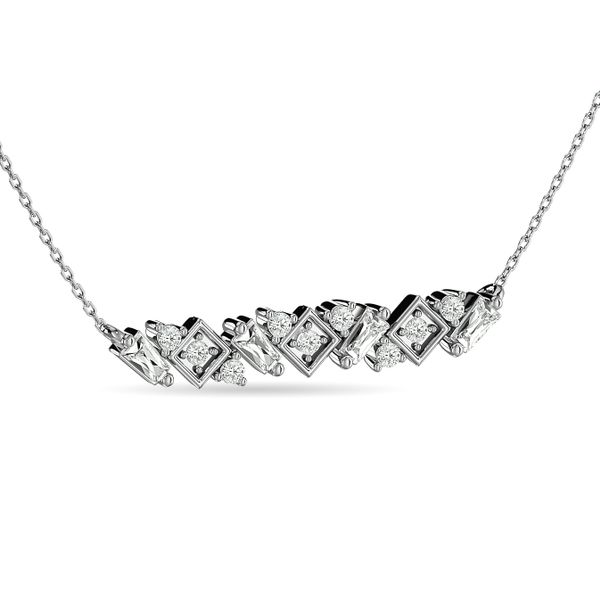 Diamond Round and Tapper Fashion Necklace 1/5 ct tw in 10K White Gold Image 2 Robert Irwin Jewelers Memphis, TN