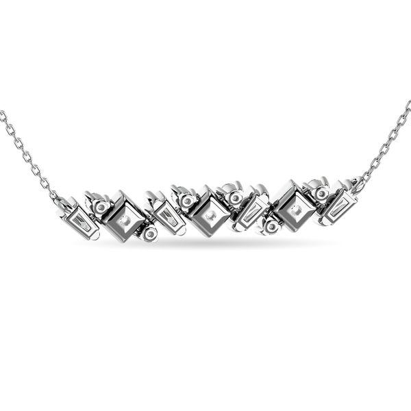 Diamond Round and Tapper Fashion Necklace 1/5 ct tw in 10K White Gold Image 4 Robert Irwin Jewelers Memphis, TN