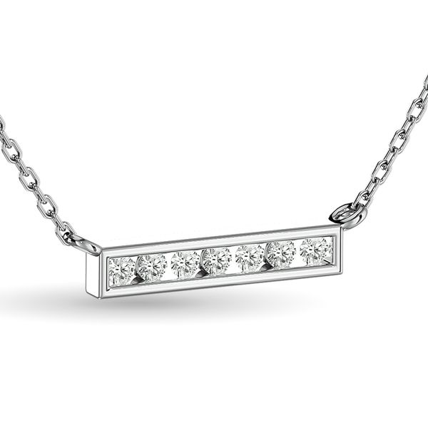 Diamond Round Cut Fashion Necklace 1/4 ct tw in 10K White Gold Image 2 Robert Irwin Jewelers Memphis, TN