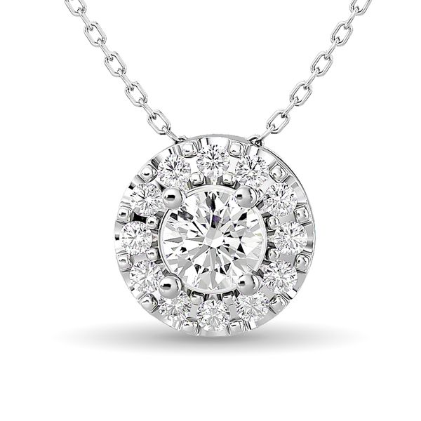 Diamond Round Cut Single Halo Pendant 1/4 ct tw in 14K White Gold Robert Irwin Jewelers Memphis, TN
