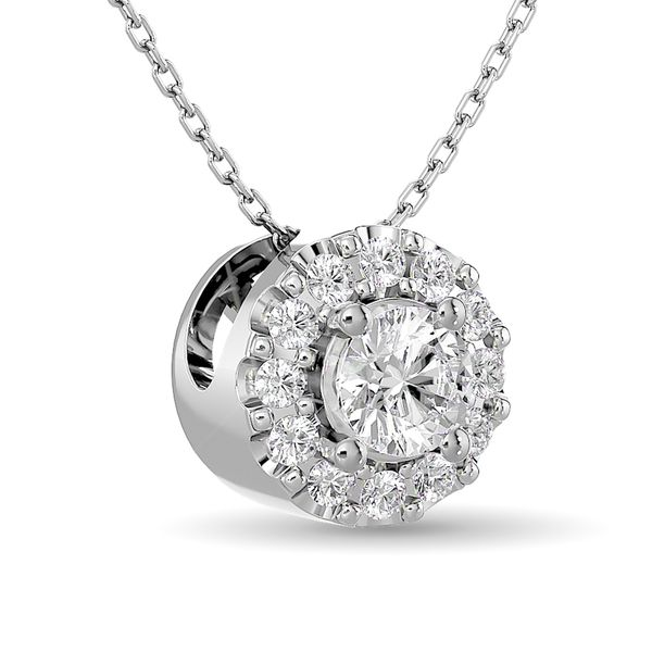 Diamond Round Cut Single Halo Pendant 1/4 ct tw in 14K White Gold Image 2 Robert Irwin Jewelers Memphis, TN