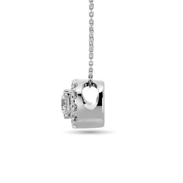 Diamond Round Cut Single Halo Pendant 1/4 ct tw in 14K White Gold Image 3 Robert Irwin Jewelers Memphis, TN