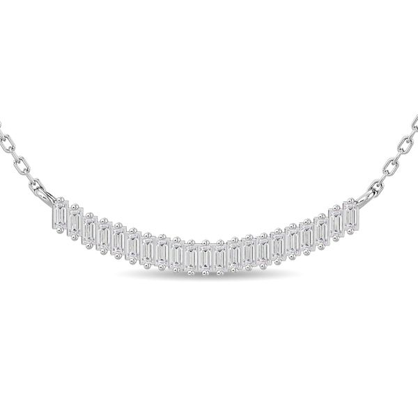 Diamond 1/5 ct tw Straight baguette Necklace in 14K White Gold Robert Irwin Jewelers Memphis, TN