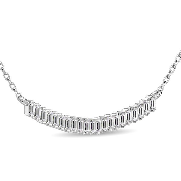 Diamond 1/5 ct tw Straight baguette Necklace in 14K White Gold Image 2 Robert Irwin Jewelers Memphis, TN