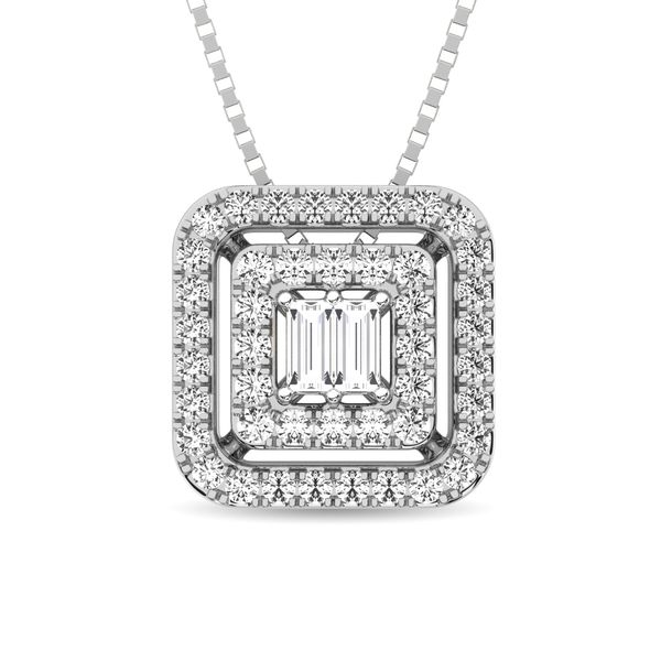 Diamond 1/4 ct tw Round and Baguette Fashion Pendant in 10K White Gold Robert Irwin Jewelers Memphis, TN