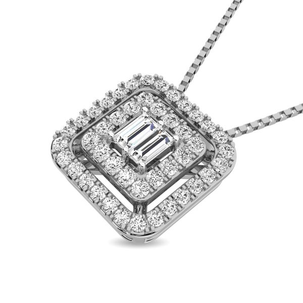 Diamond 1/4 ct tw Round and Baguette Fashion Pendant in 10K White Gold Image 2 Robert Irwin Jewelers Memphis, TN