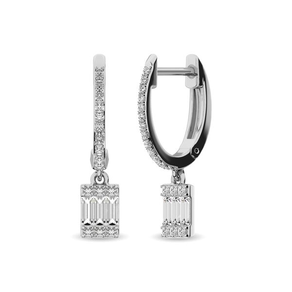 Diamond 1/3 ct tw Round and Baguette Hoop Earrings in 14K White Gold Robert Irwin Jewelers Memphis, TN