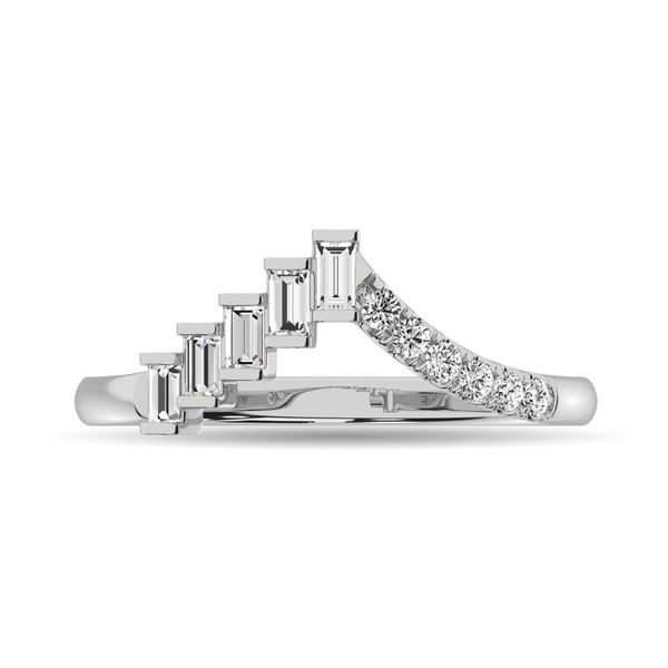 Diamond 1/4 ct tw Round and Baguette Band in 10K White Gold Robert Irwin Jewelers Memphis, TN