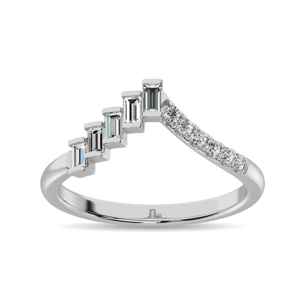 Diamond 1/4 ct tw Round and Baguette Band in 10K White Gold Image 2 Robert Irwin Jewelers Memphis, TN