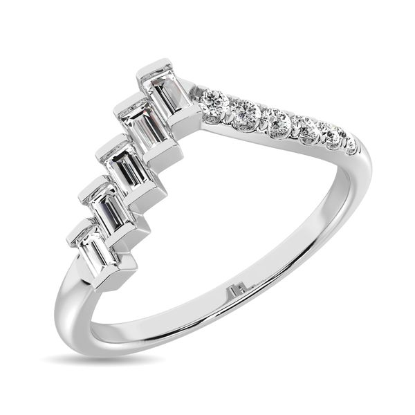 Diamond 1/4 ct tw Round and Baguette Band in 10K White Gold Image 3 Robert Irwin Jewelers Memphis, TN