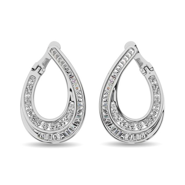 Diamond 1 ct tw Hoop Earrings in 14K White Gold Image 2 Robert Irwin Jewelers Memphis, TN