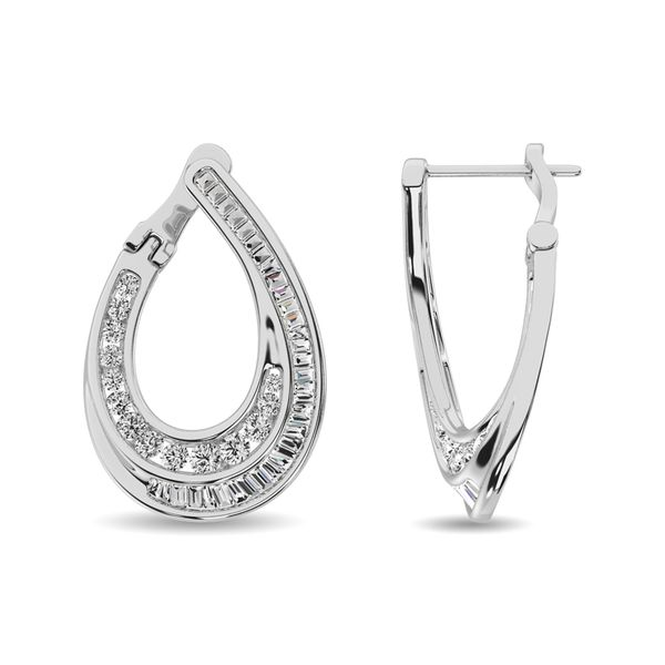 Diamond 1 ct tw Hoop Earrings in 14K White Gold Image 3 Robert Irwin Jewelers Memphis, TN