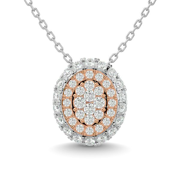 Diamond 1/2 Ct.Tw. Cluster Round Pendant in 14K Two Tone Gold Robert Irwin Jewelers Memphis, TN