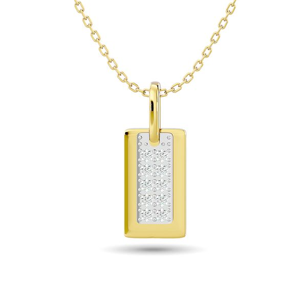 Diamond 1/10 ct tw Tag Pendant in 10K Yellow Gold Robert Irwin Jewelers Memphis, TN