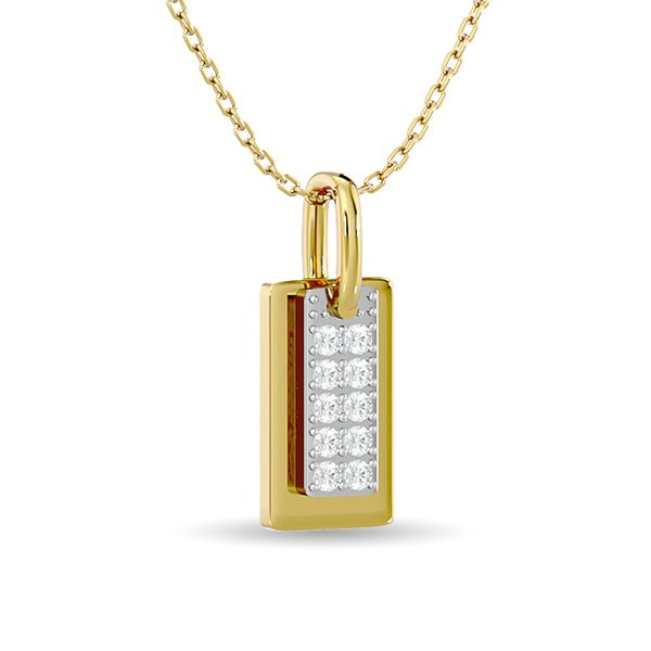 Diamond 1/10 ct tw Tag Pendant in 10K Yellow Gold Image 2 Robert Irwin Jewelers Memphis, TN