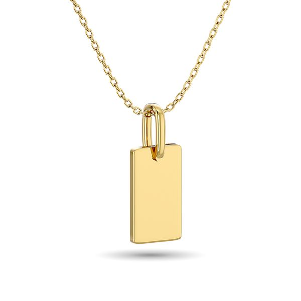 Diamond 1/10 ct tw Tag Pendant in 10K Yellow Gold Image 4 Robert Irwin Jewelers Memphis, TN