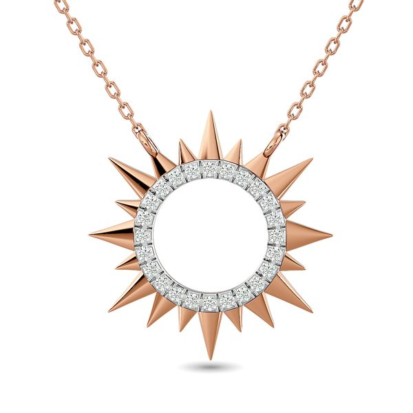 Diamond 1/8 ct tw Sun Necklace in 10K Rose Gold Robert Irwin Jewelers Memphis, TN