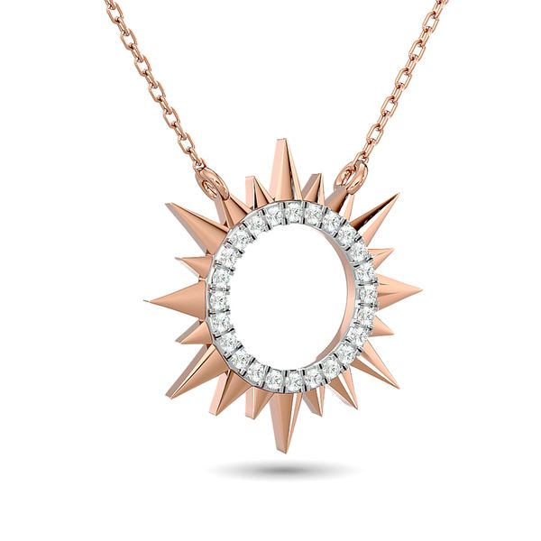 Diamond 1/8 ct tw Sun Necklace in 10K Rose Gold Image 2 Robert Irwin Jewelers Memphis, TN
