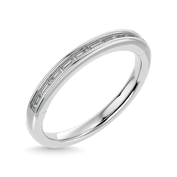 Diamond 1/3 ct tw Channel Set Straight Baguette Ladies Band in 14K White Gold Image 2 Robert Irwin Jewelers Memphis, TN