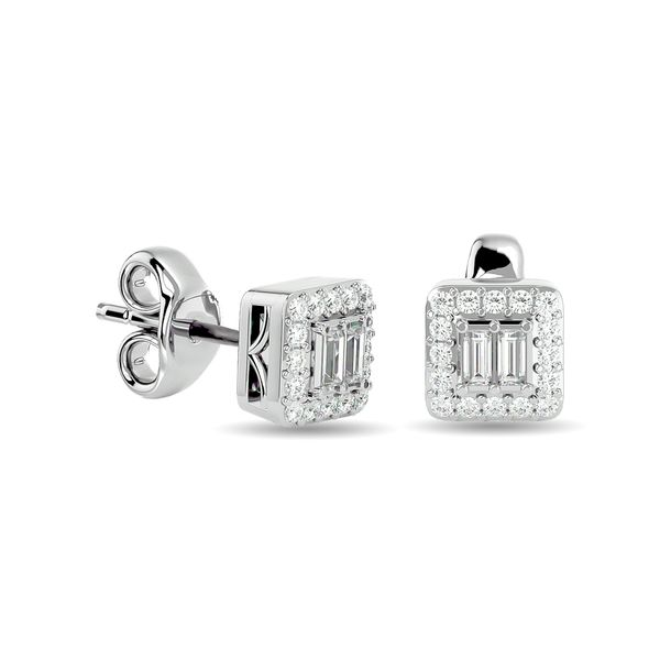 Diamond Round and Straight Buggete 1/4 ct tw Fashion Earrings in 10K White Gold Robert Irwin Jewelers Memphis, TN