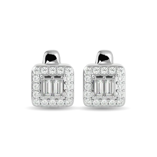 Diamond Round and Straight Buggete 1/4 ct tw Fashion Earrings in 10K White Gold Image 2 Robert Irwin Jewelers Memphis, TN