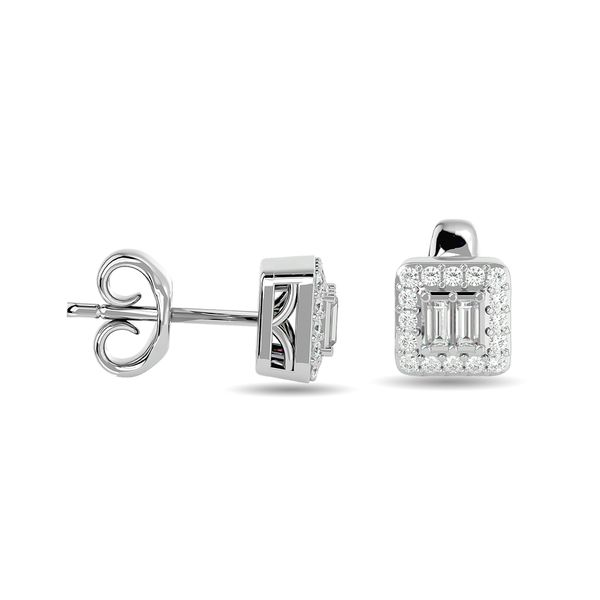 Diamond Round and Straight Buggete 1/4 ct tw Fashion Earrings in 10K White Gold Image 3 Robert Irwin Jewelers Memphis, TN