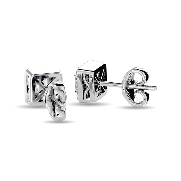 Diamond Round and Straight Buggete 1/4 ct tw Fashion Earrings in 10K White Gold Image 4 Robert Irwin Jewelers Memphis, TN