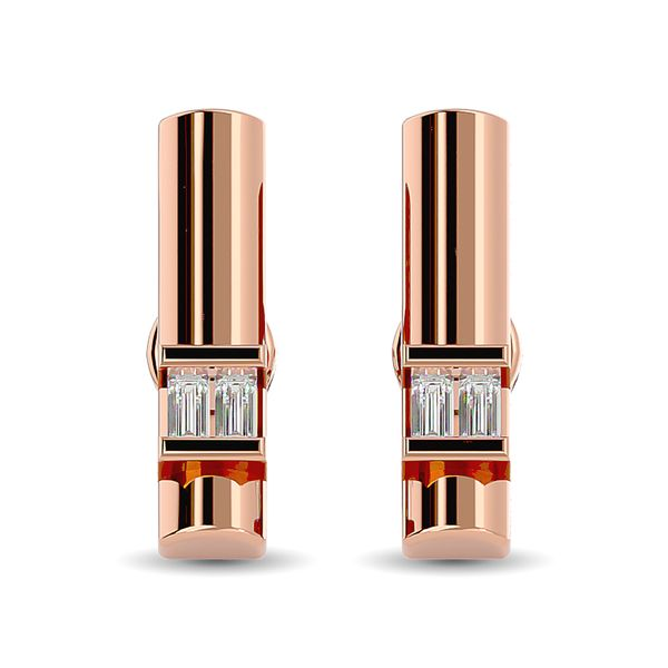 Diamond 1/20 ct tw Bar Earrings in 10K Rose Gold Image 2 Robert Irwin Jewelers Memphis, TN