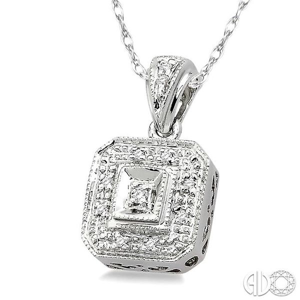 1/20 Ctw Single Cut Diamond Vintage Pendant in 14K White Gold with Chain Image 2 Robert Irwin Jewelers Memphis, TN