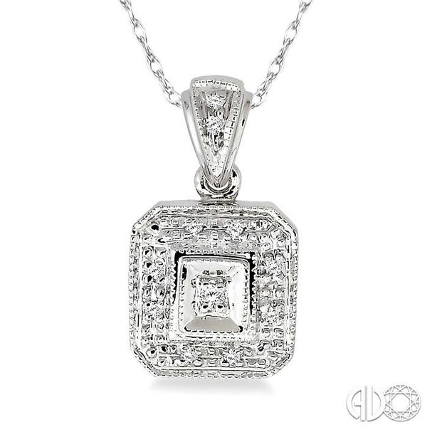 1/20 Ctw Single Cut Diamond Vintage Pendant in 14K White Gold with Chain Robert Irwin Jewelers Memphis, TN