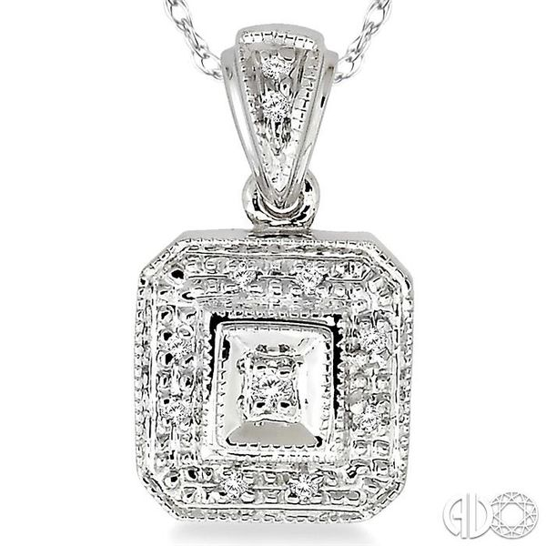 1/20 Ctw Single Cut Diamond Vintage Pendant in 14K White Gold with Chain Image 3 Robert Irwin Jewelers Memphis, TN