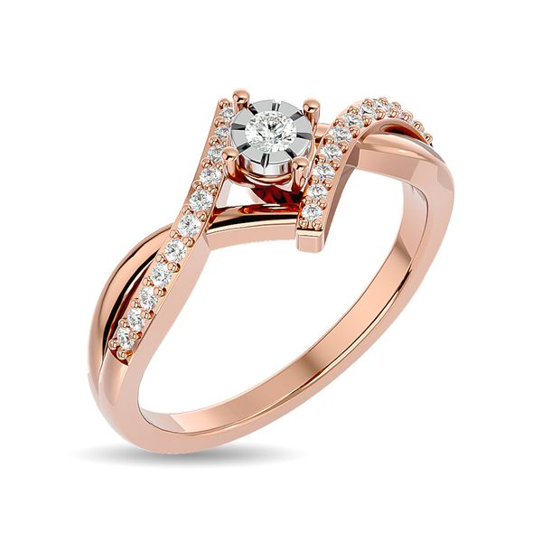 Diamond 1/5 ct tw Promise Ring in 10K Rose Gold Image 2 Robert Irwin Jewelers Memphis, TN
