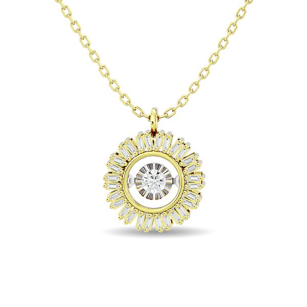 Diamond 1/6 ct tw Flower Pendant in 10K Yellow Gold Robert Irwin Jewelers Memphis, TN
