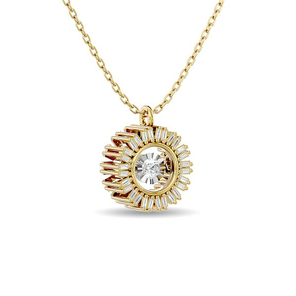 Diamond 1/6 ct tw Flower Pendant in 10K Yellow Gold Image 2 Robert Irwin Jewelers Memphis, TN
